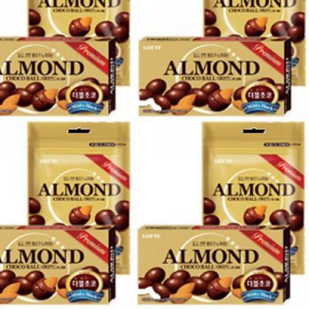 롯데)아몬드 초코볼 42g x 20개 감미로운 초코릿 속 바삭하게 구운 통 아몬드 초코렛 달콤 출출 간식 초코릿