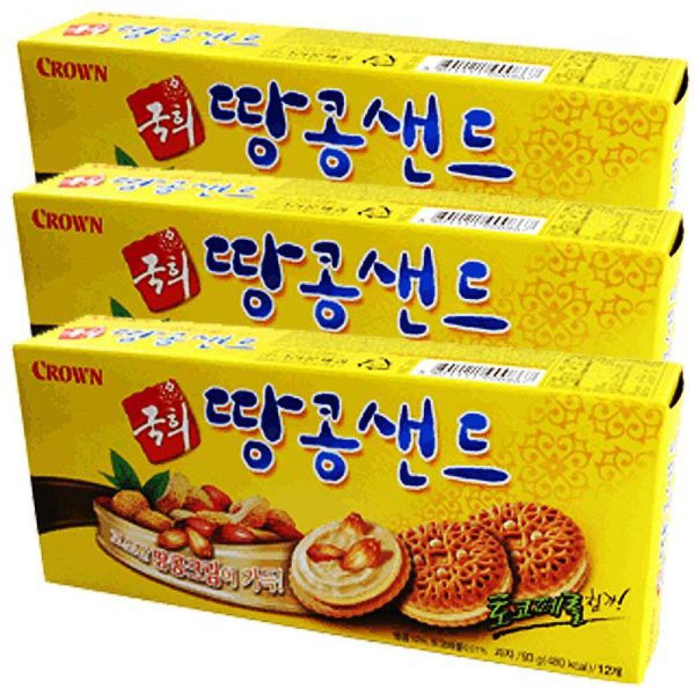 크라운)국희 땅콩샌드 70g x 24개 온 가족이 고소하게 비스킷 비스켓 샌드 견과 간식