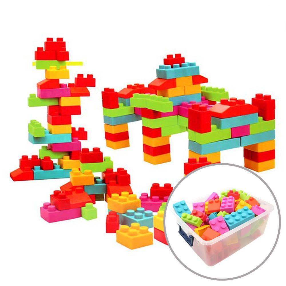 보관함포함 아이 소프트 스마트 마일드블록 100피스 퍼즐 블록 블럭 장난감 유아블럭