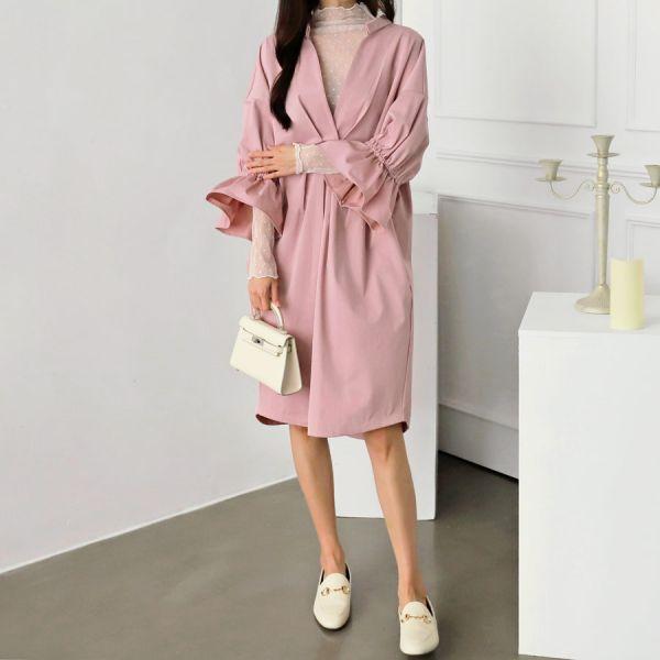 루즈커프스원피스 1025046 DRESS 면원피스 네이비 Navy 핑크 Pink