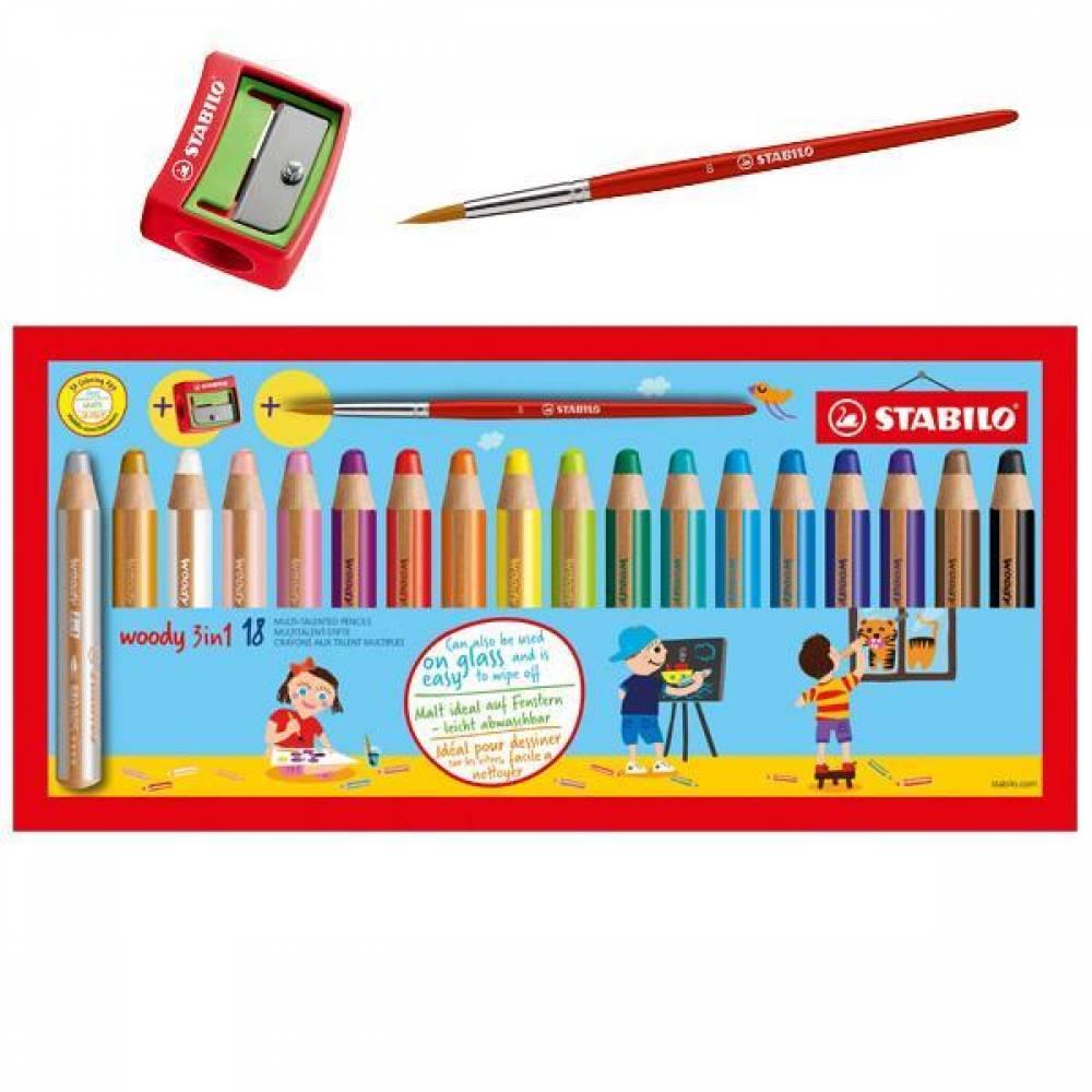 스타빌로 우디 3in1 멀티 크레용 18색 (색연필,수채물감,크레용 표현가능)