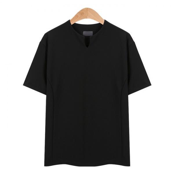 라인넥 포인트 스판 블랙 티셔츠_CMT005