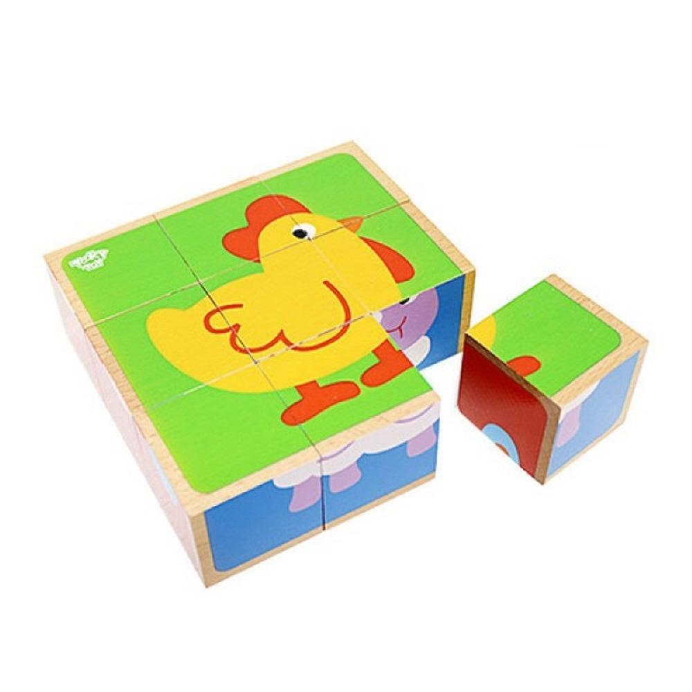 장난감 유아 학습 아동 놀이 동물 6면 큐브 퍼즐 아이 퍼즐 블록 블럭 장난감 유아블럭
