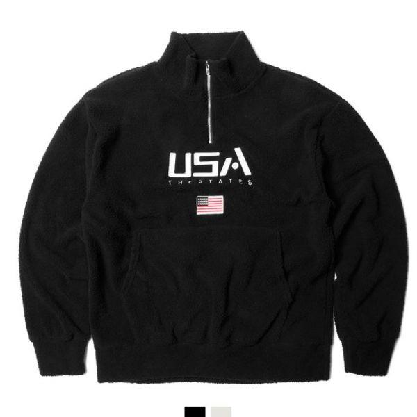 양털 USA 아노락 티셔츠 양털아노락 양털반집업 USA양털 커플아노락 남녀공용 커플티 뽀글이티셔츠 킹스맨