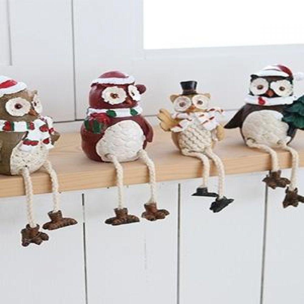 실다리 산타 부엉이 4P 마블소품 부엉이소품 인테리어소품 장식소품 부엉이장식품