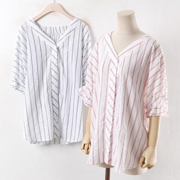 빅사이즈 807 루씨 줄지 블라우스 DSM2597 빅사이즈 여성의류 미시옷 임부복 807루씨줄지블라우스DSM2597