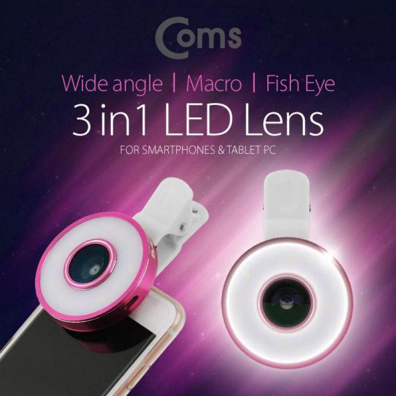Coms 스마트폰 카메라 확대경3 in1 셀카 렌즈 LED 라이트 Macro 피쉬아이 Wide