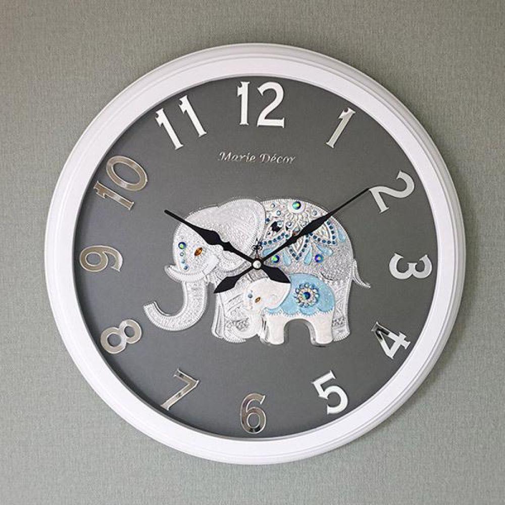 미러넘버 벽시계 (파인보석 코끼리 실버) 벽시계 벽걸이시계 인테리어벽시계 예쁜벽시계 인테리어소품