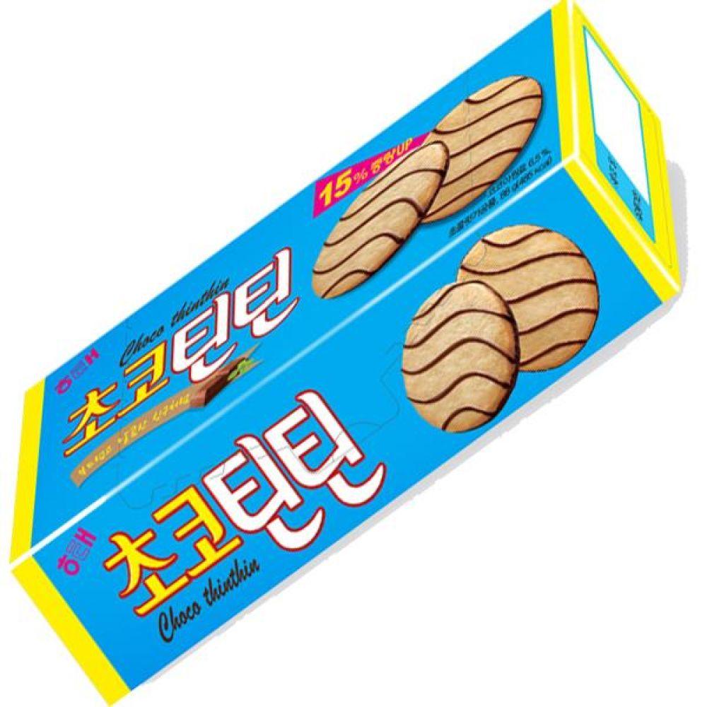 해태)초코틴틴 76g x 12개 부드러운 쿠키위에 달콤한 초코릿 비스킷 비스켓 과자 초코릿 쿠키