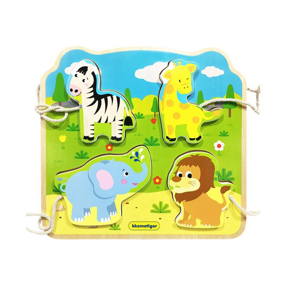 선물 유아 장난감 티거 원목 끈퍼즐 놀이 야생 동물 퍼즐 블록 블럭 장난감 유아블럭