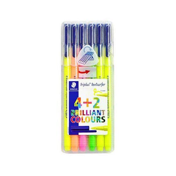 스테들러 트리플러스 텍스트 서퍼 6색세트 형광펜 부드러운형광펜 진한형광펜 스테들러형광펜 삼각형광펜