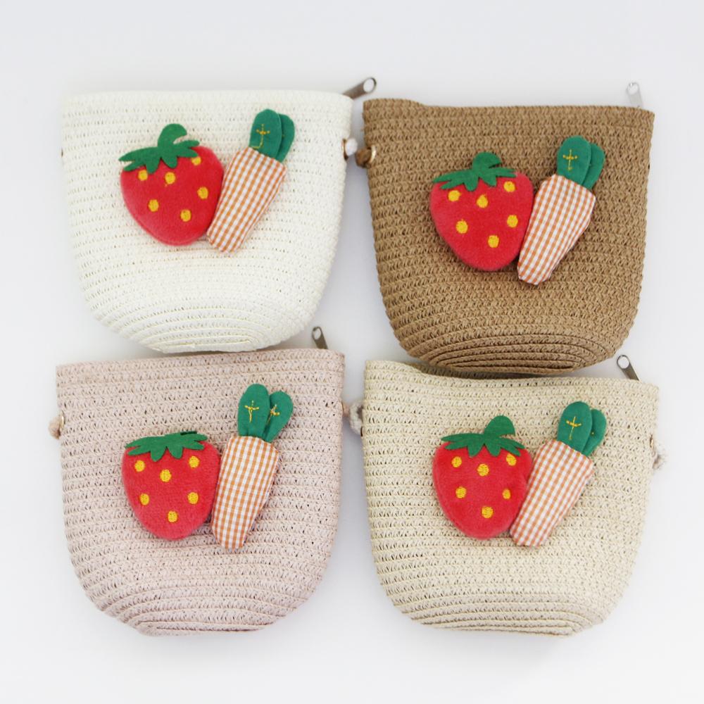딸기당근 페이퍼 핸드백(4colors) 페이퍼백 피서가방 여름가방 밀집가방 왕골가방 어린이가방 어린이핸드백 어린이여름가방 유아여름가방 아동페이퍼백