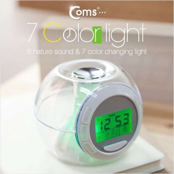 Coms 시계 7 color light 6 sound 디지털