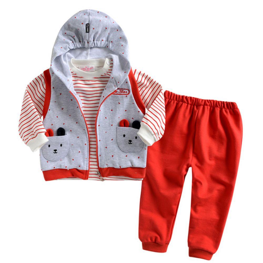 한국 후드조끼 상하복 3종세트 레드(0-24개월) 202553 조끼 티셔츠 바지 유아복 후드조끼 백일옷 백일복 아기옷 유아외출복 아기외출복 엠케이 조이멀티