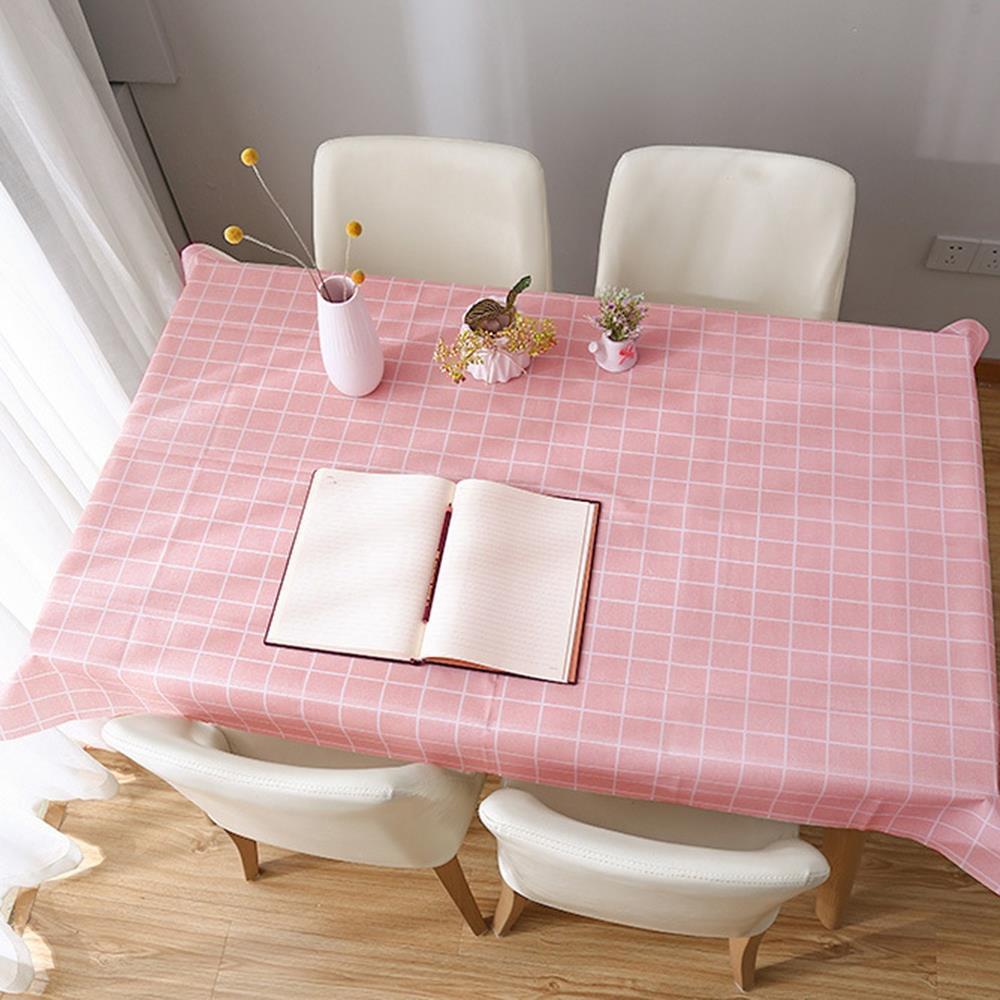 137x137cm 격자무늬 식탁보 핑크 식탁커버 식탁깔개 식탁테이블매트 방수테이블보 식탁테이블보 식탁깔개 테이블러너