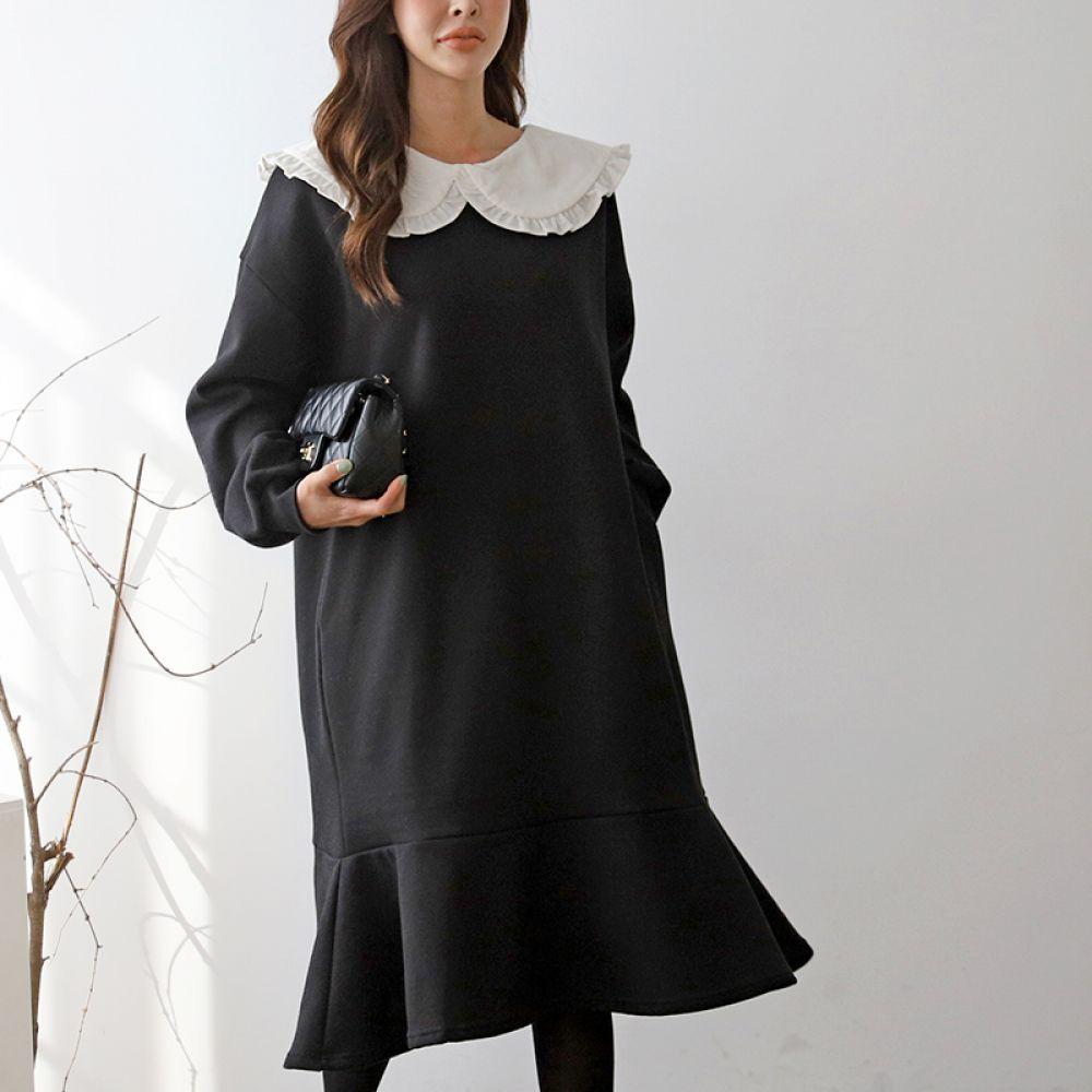레이스 카라 원피스 1044357 DRESS 면원피스 블랙 Black 멜란지 Melange 로맨틱