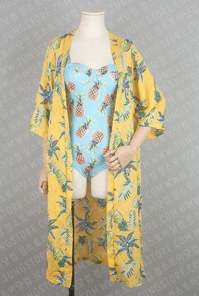 파인애플 하와이안 롱 루즈 로브 가디건 비키니 비치웨어 원피스수영복 여성수영복 수영복 래쉬가드 남성수영복 여름 비치반바지 비치타올