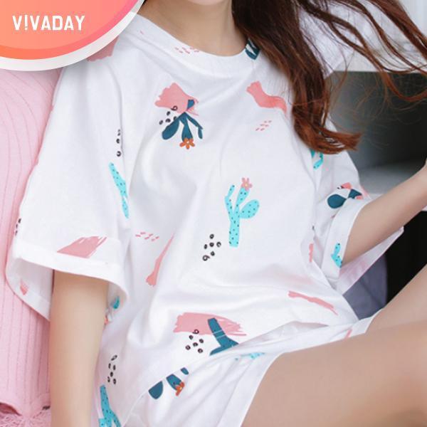VIVA-M37 선인장 파자마세트 잠옷 홈웨어 파자마 잠옷세트 란제리 실내복 이지웨어