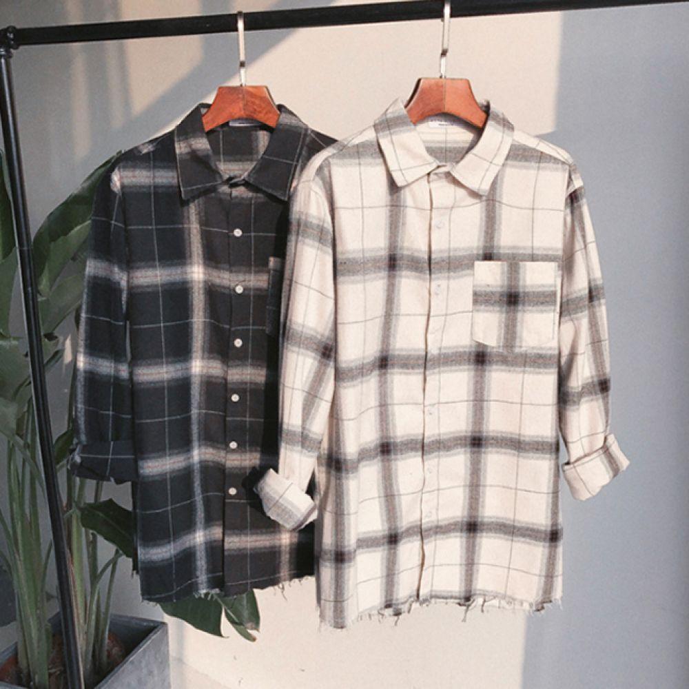 루즈핏 체크 셔츠 남방 HH-C17 셔츠 체크셔츠 여성체크남방 남자체크남방 오버핏체크남방
