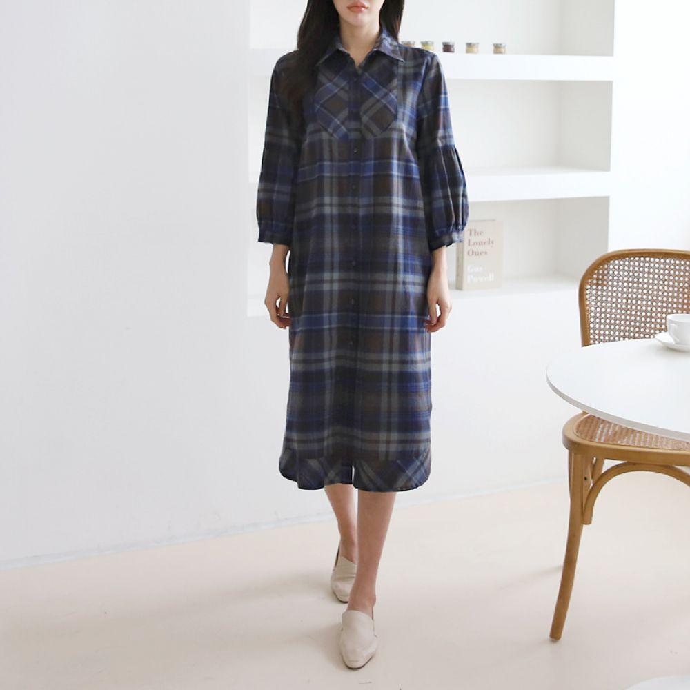 체크 벌룬 셔츠원피스 1048657 DRESS 면원피스 블랙 Black 블루 Blue 캐주얼