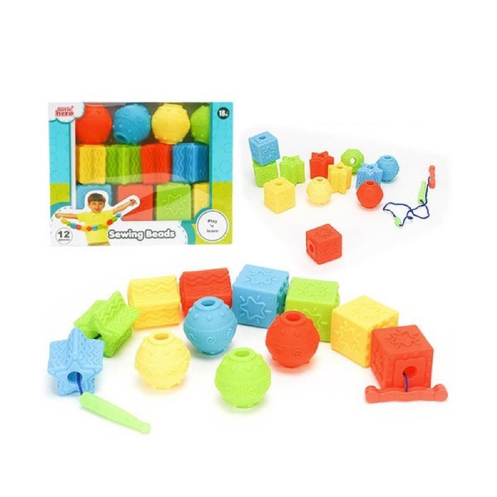 3세 어린이집 장난감 블록 베이비 소프트 실꿰기 12P 퍼즐 블록 블럭 장난감 유아블럭