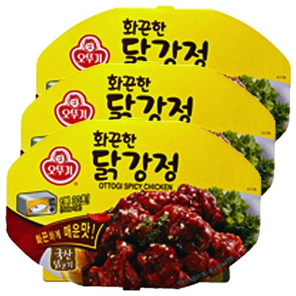 오뚜기)화끈한 닭강정 렌지용180g x 6개 국산 닭고기 술안주 즉석 레토르트 간편 키친 매콤