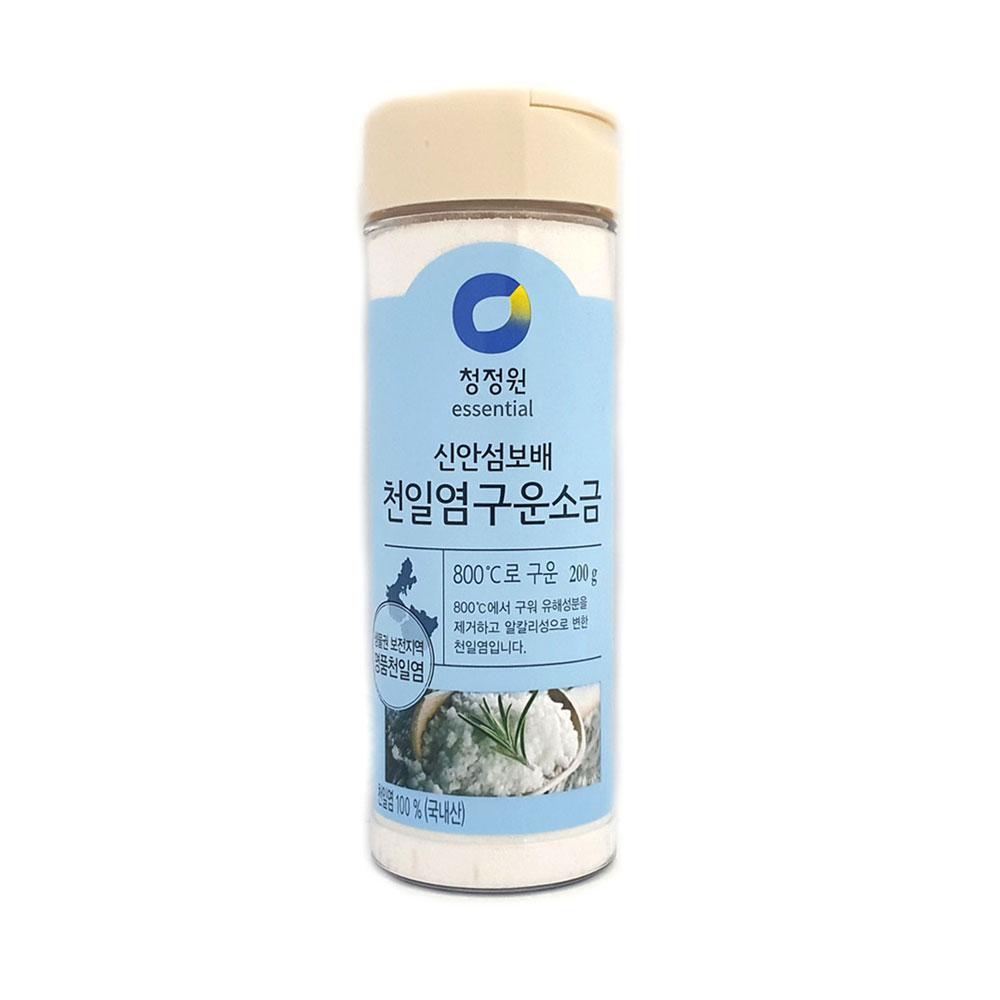 청정원 천일염 구운소금 200g (용기) 가는 소금 청정원 맛소금 소금 구운소금 가는소금