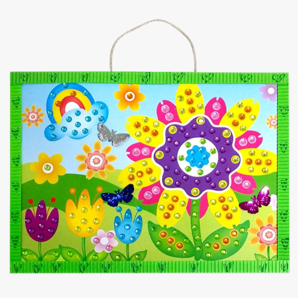 보석비즈 스티커 액자 - 꽃 만들기 나비 곤충 보석스티커 꼴라주 액자 꽃보석비즈 꽃액자 만들기패키지 미술만들기