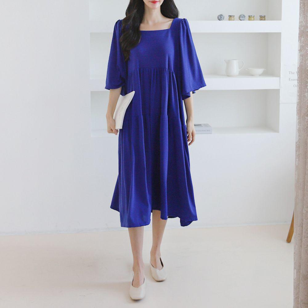스퀘어넥 프릴원피스 1048853 DRESS 면원피스 블랙 Black 코발트블루 Cobalt Blue 그레이 Gray 캐주얼