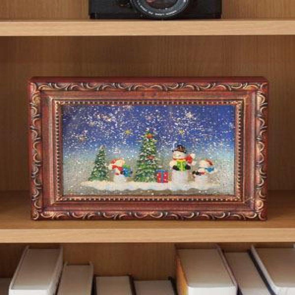 크리스마스 LED 액자 워터볼 오르골1985 (눈사람) 멜로디워터볼 LED소품 LED오르골 크리스마스소품 선반장식 장식소품