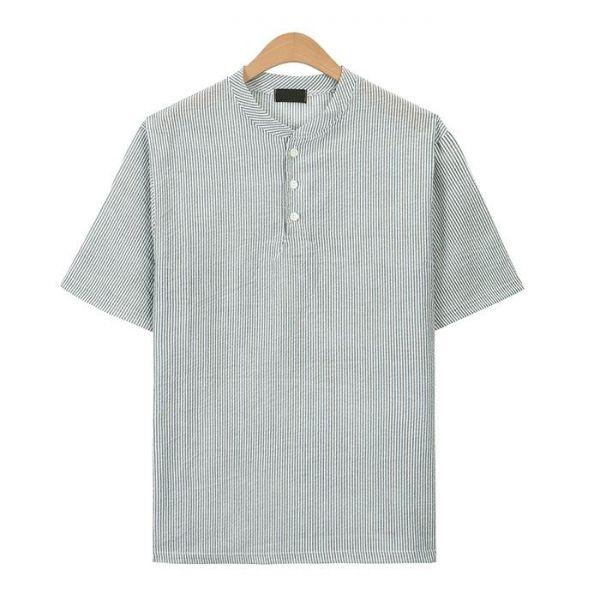 카키 시어서커 스트라이프 헨리넥 티셔츠_CMT017 헨리넥반팔티 남자반팔티 반팔티 무지반팔티 티셔츠 반팔티셔츠 남자티셔츠 남자오버핏반팔