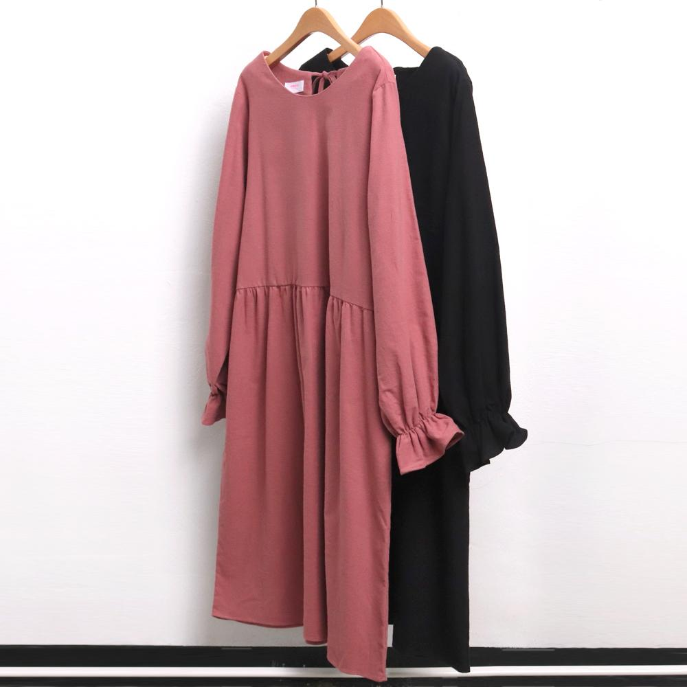 미시옷 7733L912 기모 백 리본 원피스 CH 빅사이즈 여성의류 빅사이즈 여성의류 미시옷 임부복 볼륨셔링롱원피스