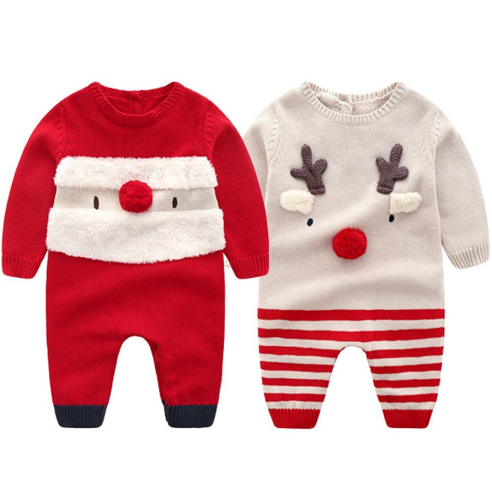아기 산타와 루돌프 니트 우주복(6-36개월) 203705 우주복 겨울우주복 니트우주복 아기우주복 유아우주복 산타우주복 루돌프우주복 아기산타 아기루돌프 크리스마스우주복