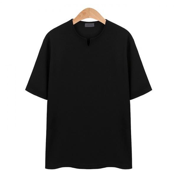 V넥 포인트 스판 블랙 티셔츠_CMT004