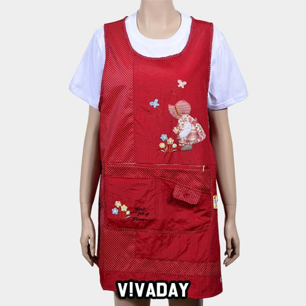 VIVADAY-SC335 소녀 자수 포켓 주머니앞치마 앞치마 주방 주방용품 주방앞치마 여성앞치마 여자앞치마 요리 저녁