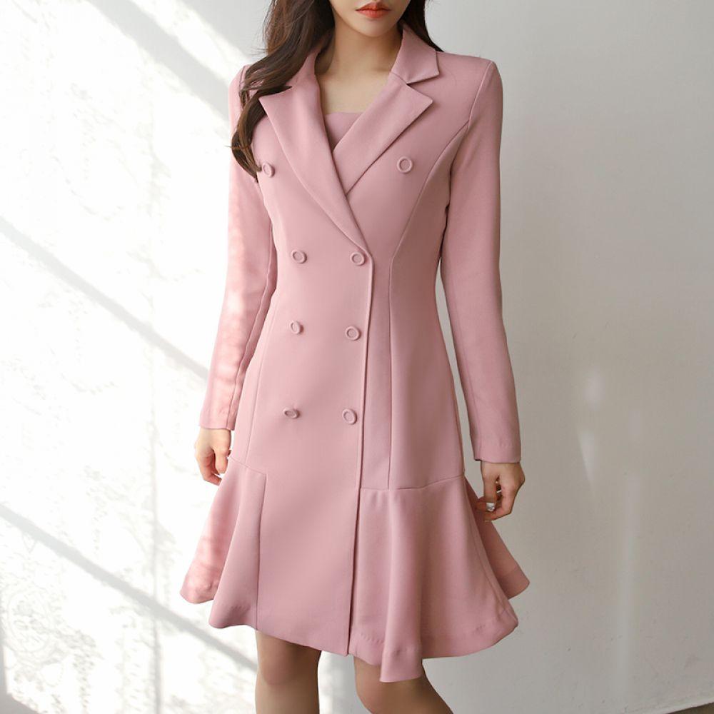 더블 플레어 원피스 1048216 DRESS 쉬폰 레이스원피스 네이비 Navy 핑크 Pink 캐주얼 어반 모던