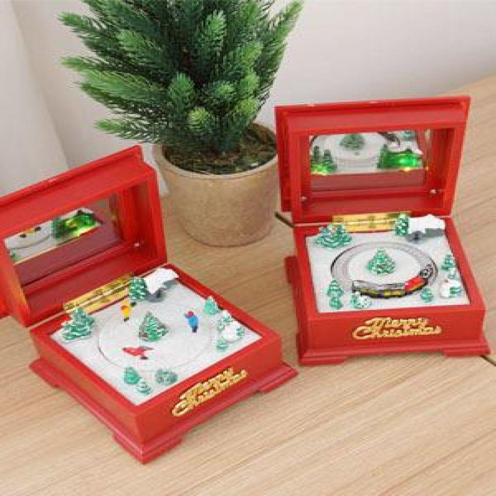 크리스마스 사각 오르골 보석상자 (2 type) 인테리어소품 오르골 미니어처소품 장식소품 크리스마스소품
