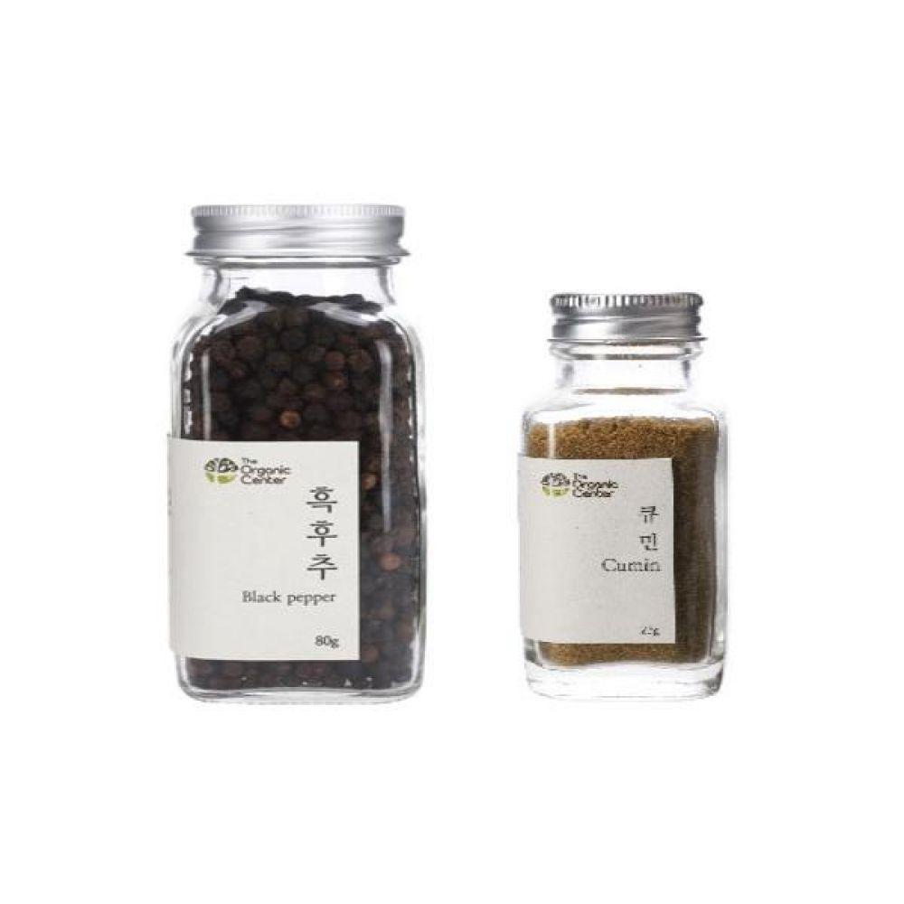 (오가닉 향신료 모음)통 흑후추 80g과 큐민 파우더 23g 건강 견과 조미료 후추 냄새