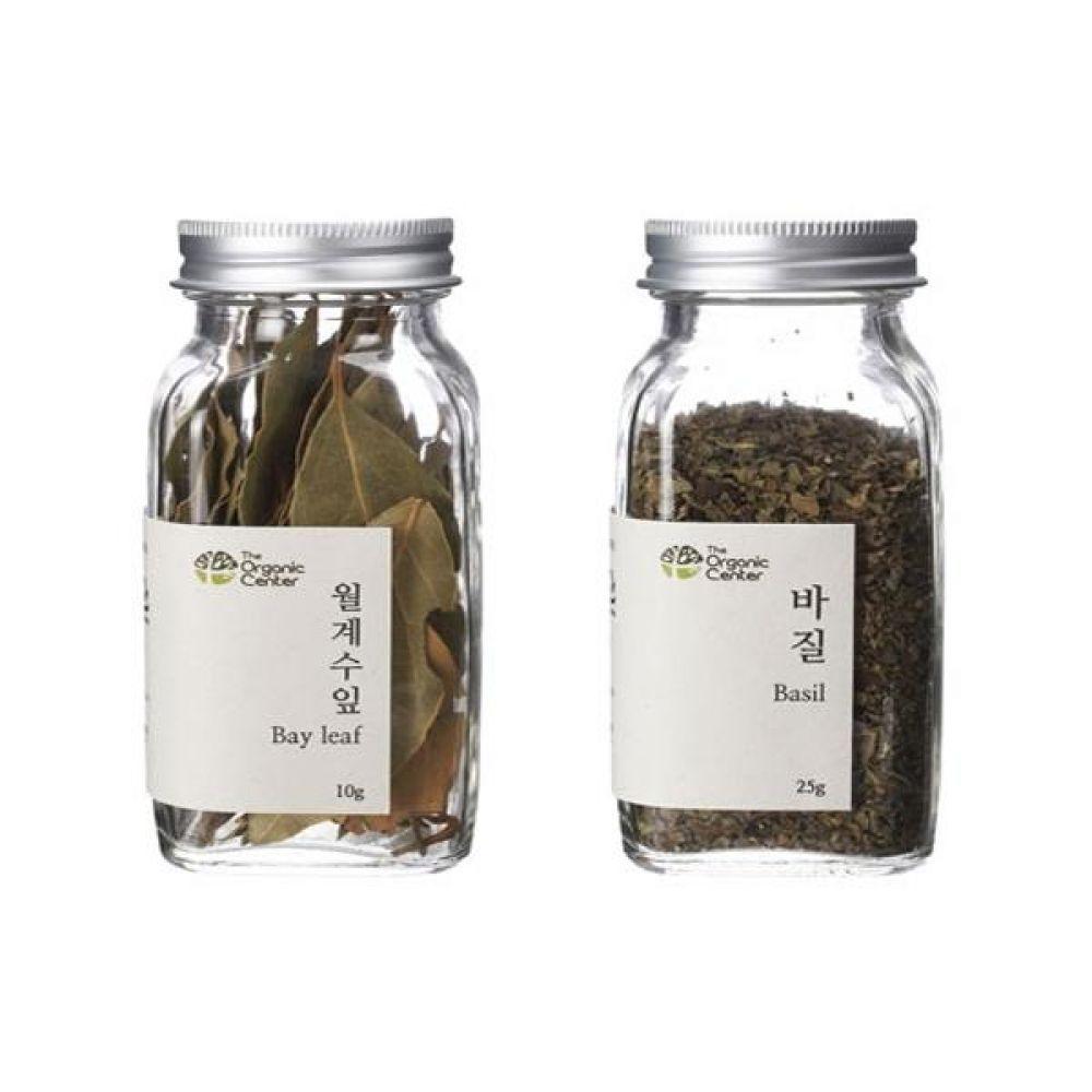 (오가닉 향신료 모음)월계수잎 10g과 건바질 25g 건강 견과 조미료 냄새 고기