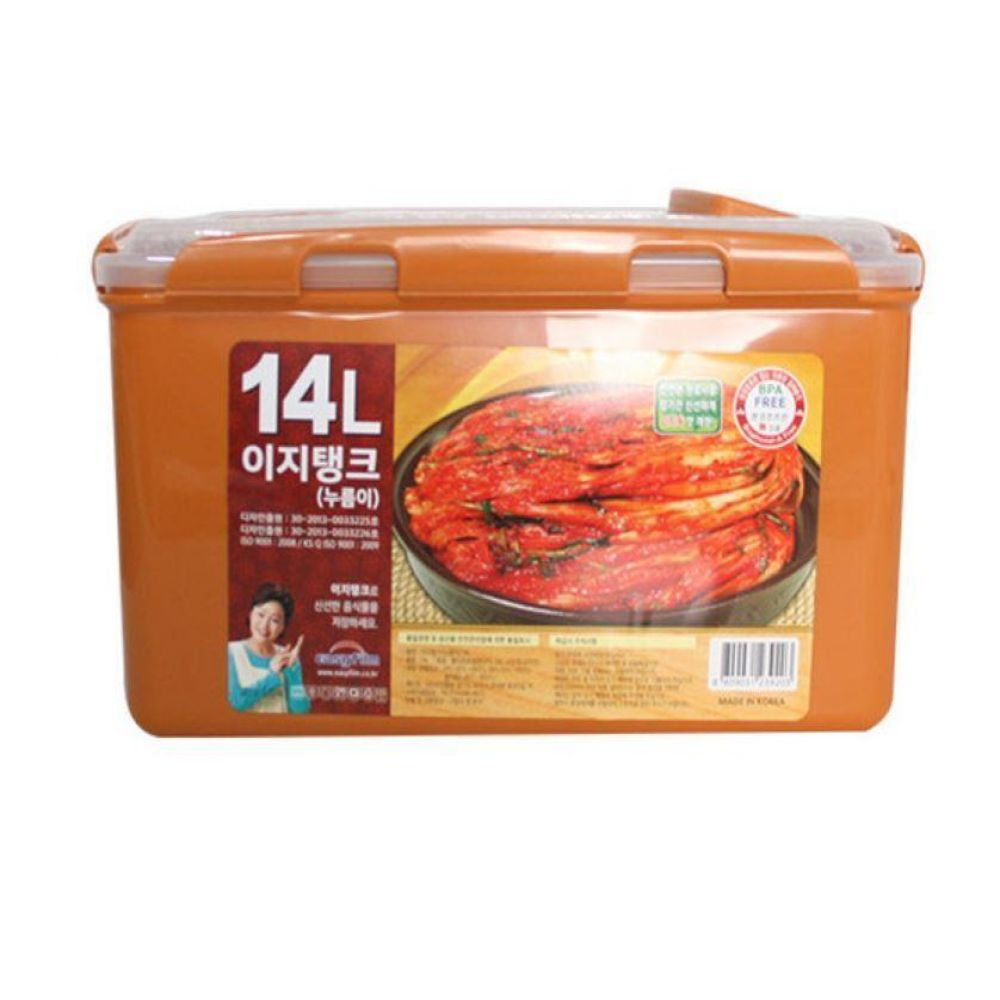 황토 이지탱크 누름이 김치통14L 김장 밀폐 보관 용기 냉장고