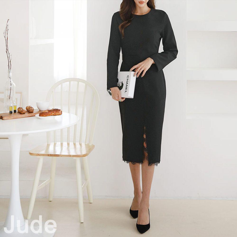 롱 레이스 트임 원피스 1044359 DRESS 면원피스 블랙 Black 오피스 심플 베이직