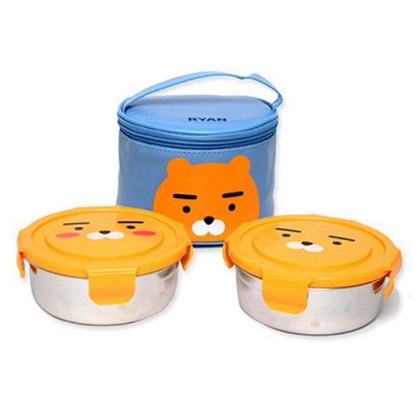 카카오프렌즈 원형스텐 가방도시락2단-라이언 아동식기 유아식기 어린이식기 도시락 유아도시락 아동도시락 어린이집선물 아기선물 아이반찬 아이들간식
