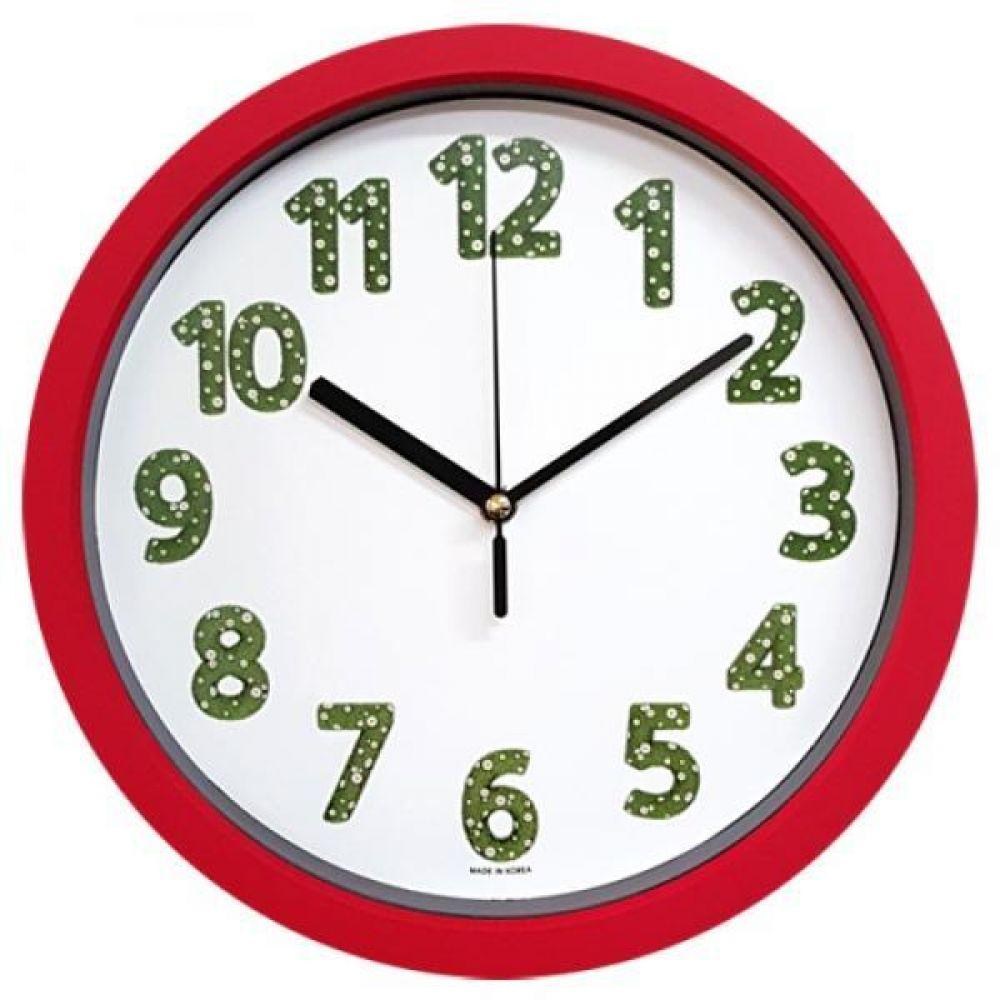 GB4652 무소음 잔디 벽시계 레드 28cm 제조한국 벽시계 인테리어벽시계 무소음시계 모던벽시계 디자인시계 홈데코시계 시계 벽걸이시계 결혼선물 소품시계 판촉시계