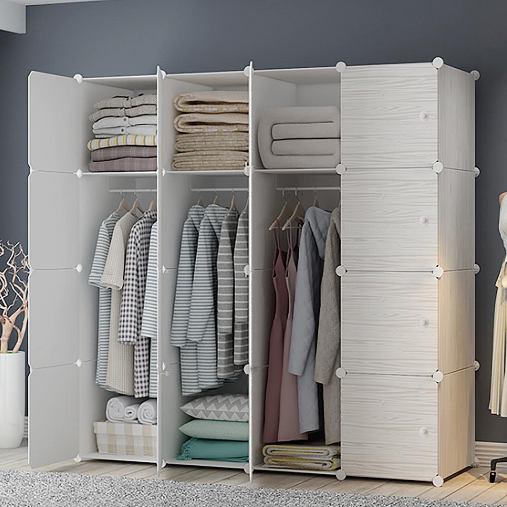 DIY 147x47x147cm 원목무늬 하우스룸 선반옷장 수납장 DIY 옷장 의류수납장 DIY옷장 옷수납장