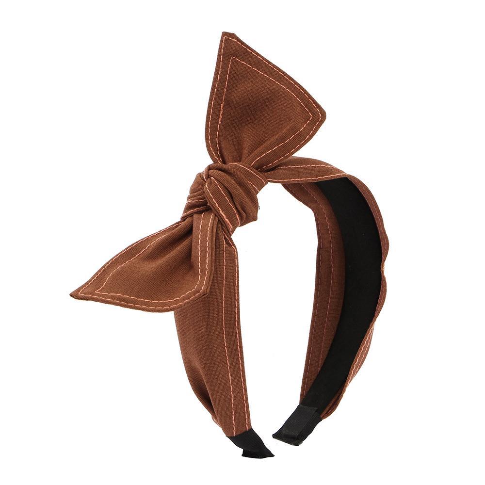 브라운 리본 헤어밴드 스티치 머리띠 리본머리띠 헤어액세서리 리본머리띠 헤어장식 머리띠 헤어악세사리
