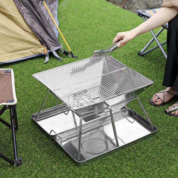 JHC컴퍼니 스테인리스 화로대 바베큐 그릴(42 42 27cm) 캠핑용품 바베큐그릴 그릴 스테인리스그릴 스텐리스그릴