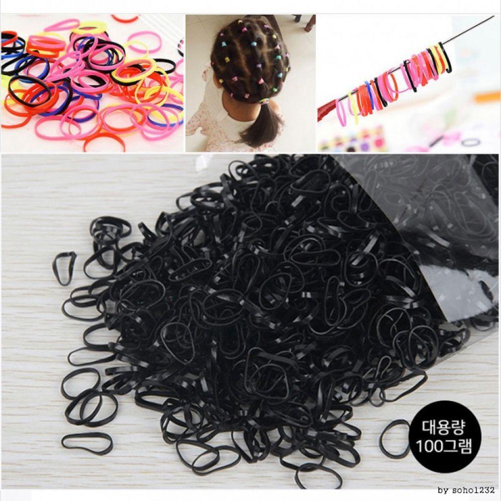 대용량 TPR머리끈 100g 컬러 블랙 머리끈 헤어액세서리 헤어악세서리 헤어끈 고무줄