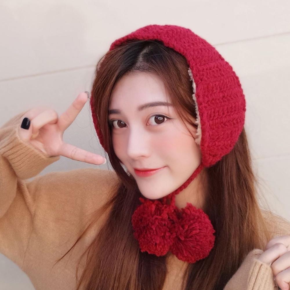 니트 방울 귀도리 레드 머리띠귀마개 보온귀마개 귀돌이 겨울귀마개 머리띠귀마개 뜨개귀도리 방한귀마개