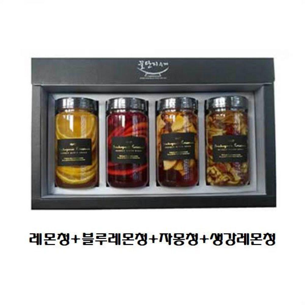 (수제 과일청 4구 선물세트) 레몬청 x 블루레몬청 x 자몽청 x 생강레몬청 청 조청 과일 조림 단맛