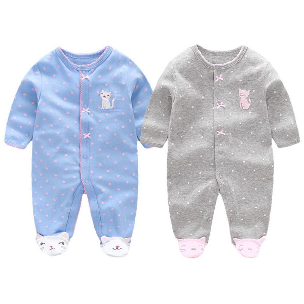 작은 리본 고양이 우주복(0-12개월) 300180 아기우주복 롬퍼 백일옷 아기옷 신생아옷 발싸개 유아복 돌복 엠케이 조이멀티
